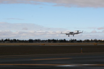 First landing on runway 11-29 by Ben Walton of Summit Aviation