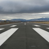 Close up of new paved runway 11-29