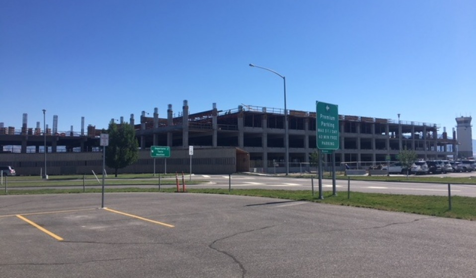 Parking garage construction as of Aug. 30, 2018